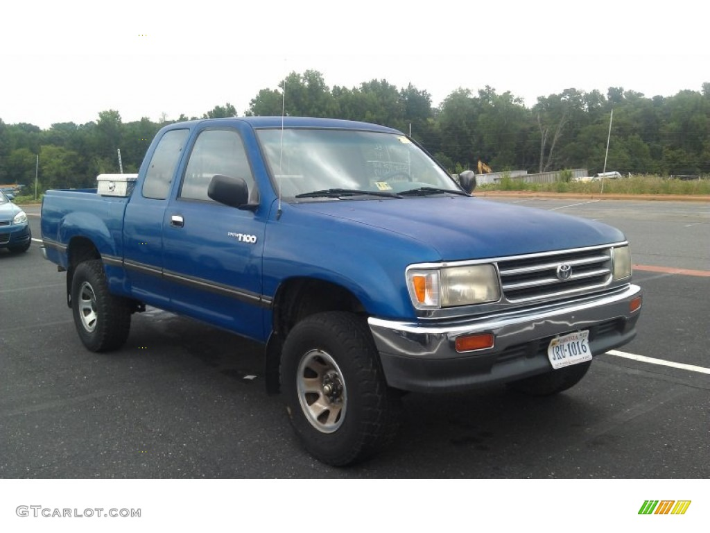 1995 tropical blue metallic toyota t100 truck dx extended cab 4x4 70352779 car. Black Bedroom Furniture Sets. Home Design Ideas