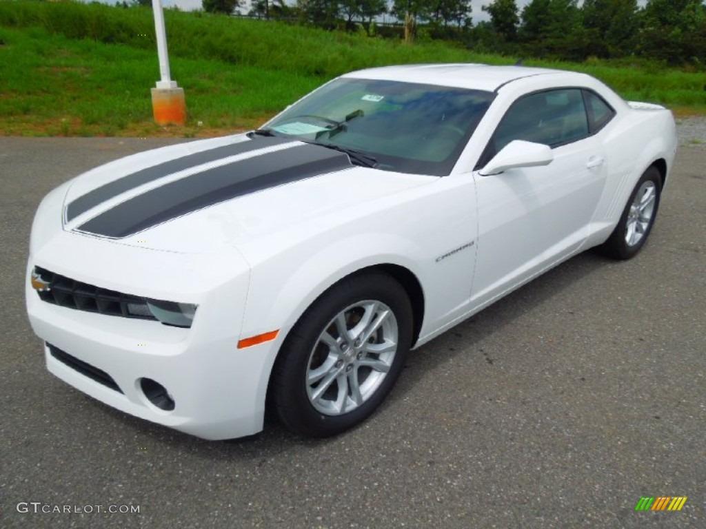 White Camaro with Black Stripes