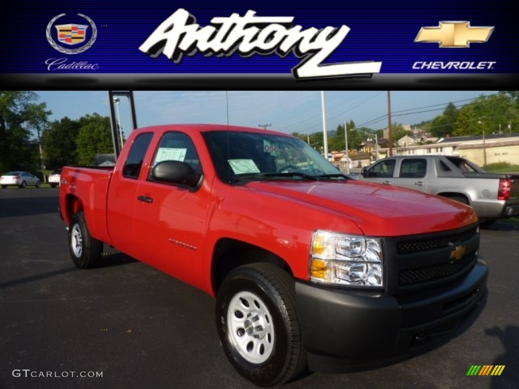 2013 Silverado 1500 Work Truck Extended Cab 4x4 - Victory Red / Dark Titanium photo #1