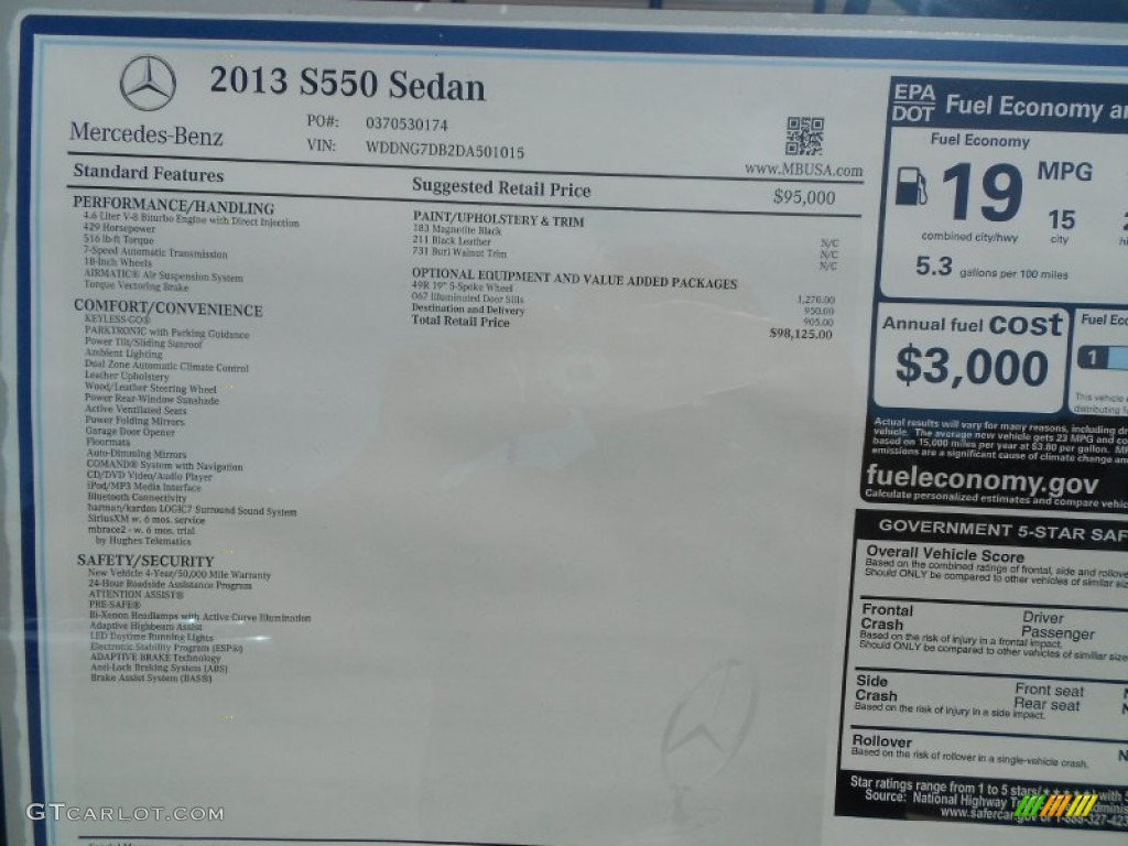 2013 Mercedes-Benz S 550 Sedan Window Sticker Photo ...