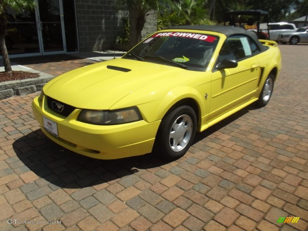 2001 zinc yellow metallic ford mustang v6 convertible. Black Bedroom Furniture Sets. Home Design Ideas