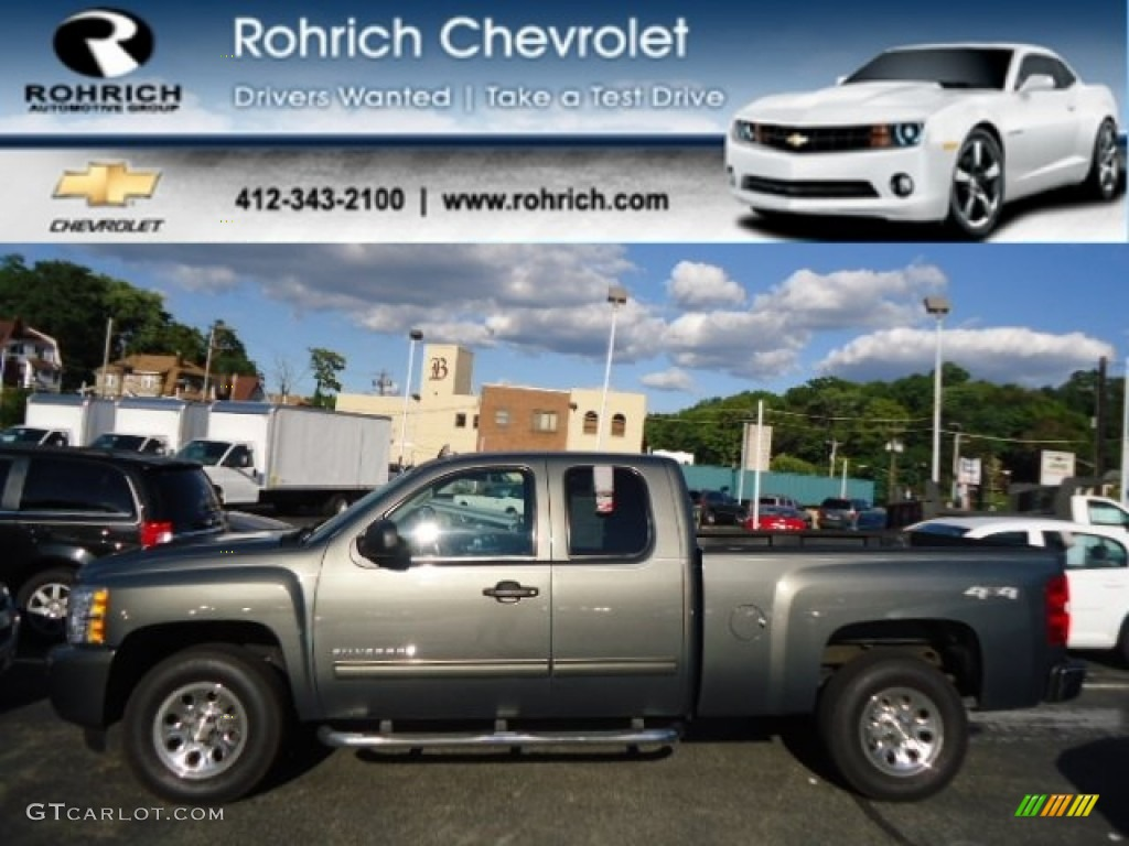 2011 Silverado 1500 LS Extended Cab 4x4 - Steel Green Metallic / Dark Titanium photo #1