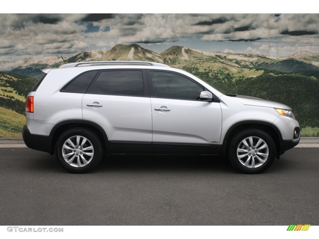 2011 Sorento EX V6 AWD - Bright Silver / Black photo #2