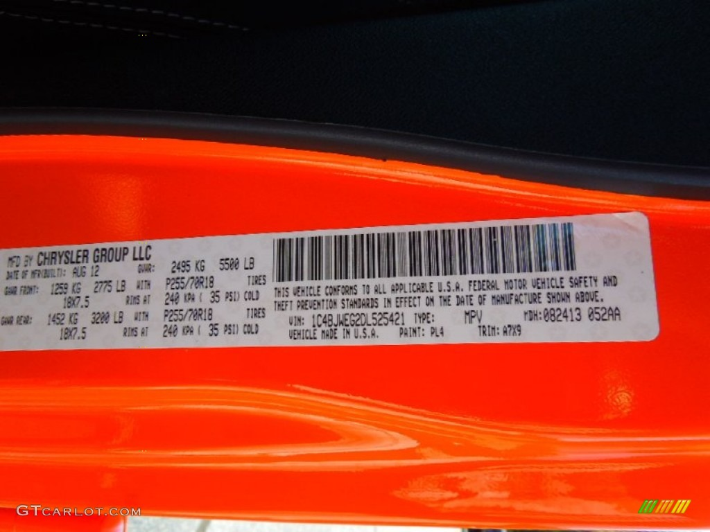 2013 Wrangler Unlimited Color Code Pl4 For Crush Orange