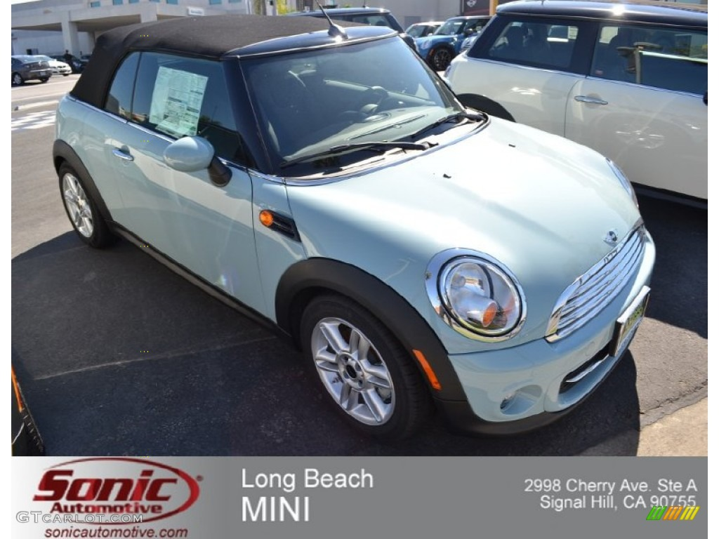 Ice Blue Mini Cooper Convertible