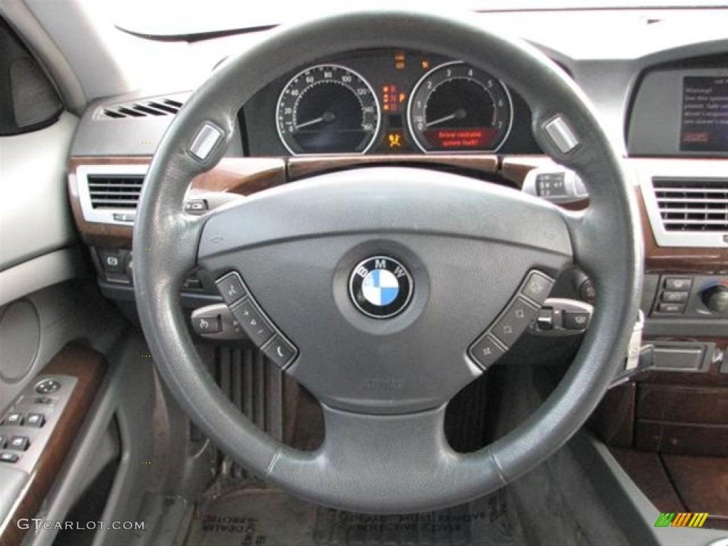 2003 BMW 7 Series 745Li Sedan Basalt Grey Flannel Steering Wheel Photo 70870876