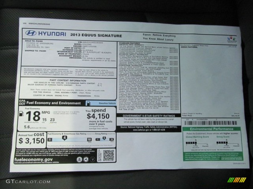 2013 Hyundai Equus Signature Window Sticker Photo