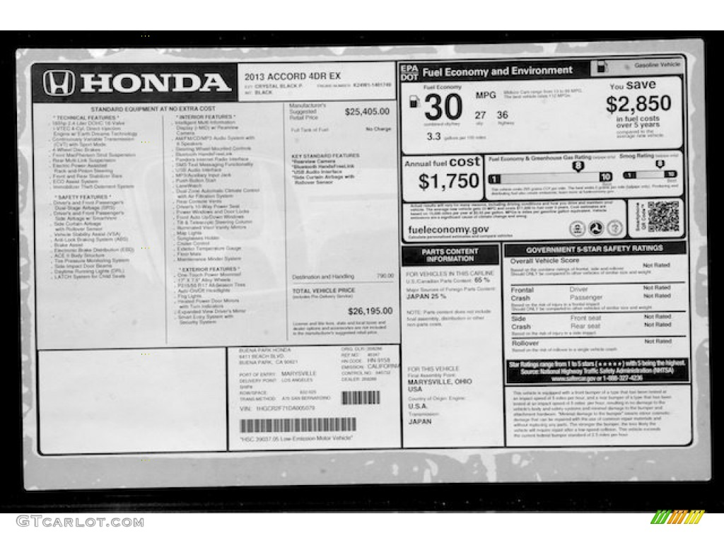 2013 Honda Accord EX Sedan Window Sticker Photo #71068790 | GTCarLot ...