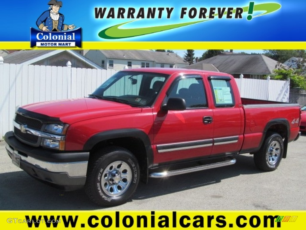 2005 Silverado 1500 LS Extended Cab 4x4 - Victory Red / Dark Charcoal photo #1