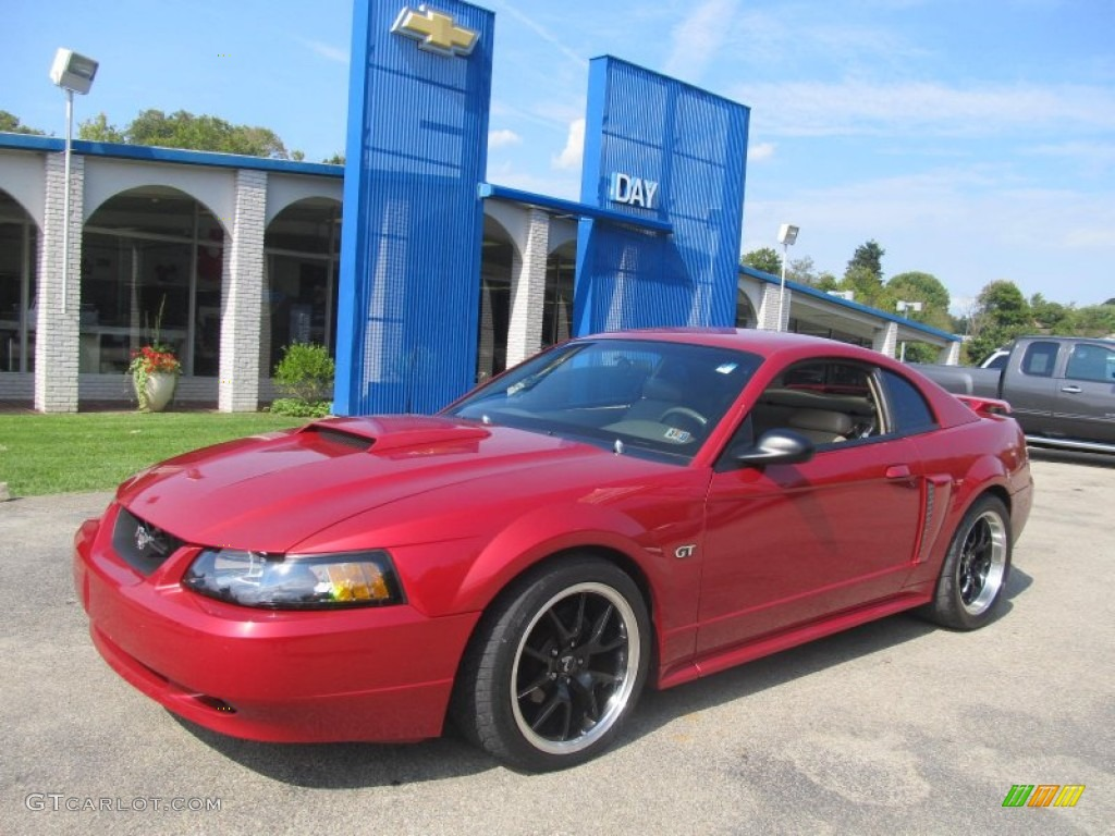 2001 Mustang GT Coupe - Laser Red Metallic / Medium Parchment photo #1