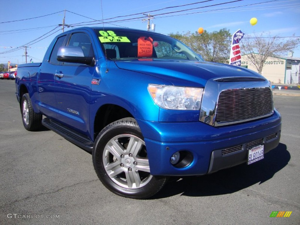 2008 Tundra Limited Double Cab 4x4 - Blue Streak Metallic / Beige photo #1