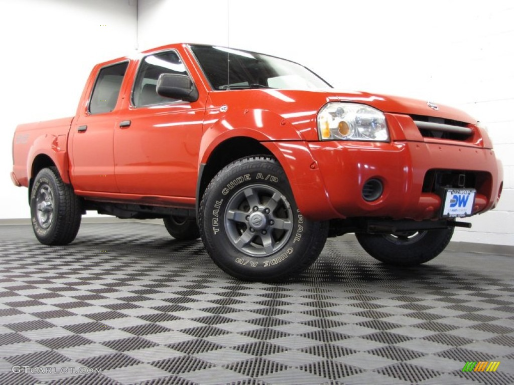 aztec red 2004 nissan frontier xe v6 crew cab 4x4 exterior photo 71153376. Black Bedroom Furniture Sets. Home Design Ideas