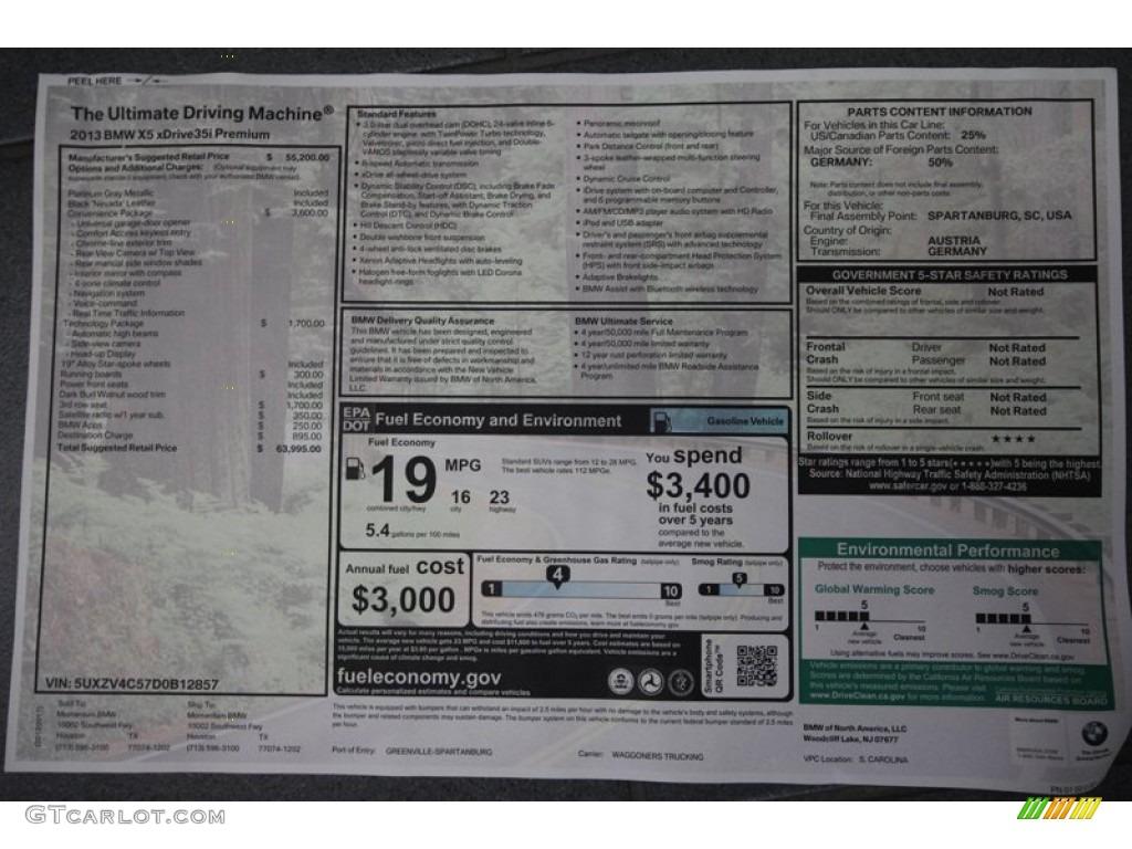 2013 Bmw X5 Xdrive 35i Premium Window Sticker Photo