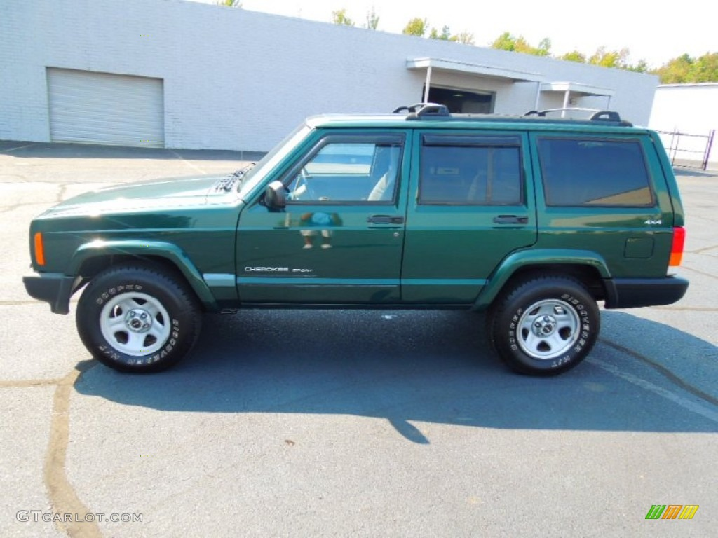 forest green pearl 1999 jeep cherokee sport 4x4 exterior photo