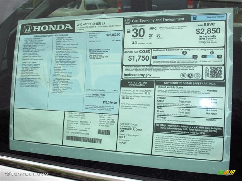 2013 honda accord lx sedan window sticker photo 71416171 gtcarlot com