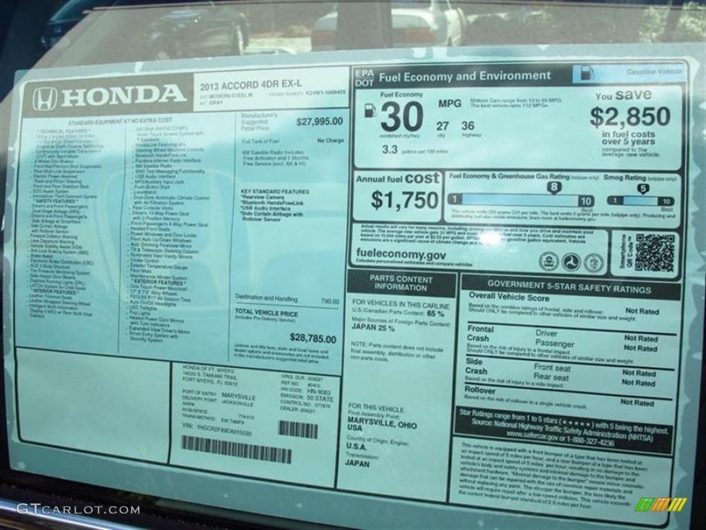 2013 honda accord ex l sedan window sticker photo