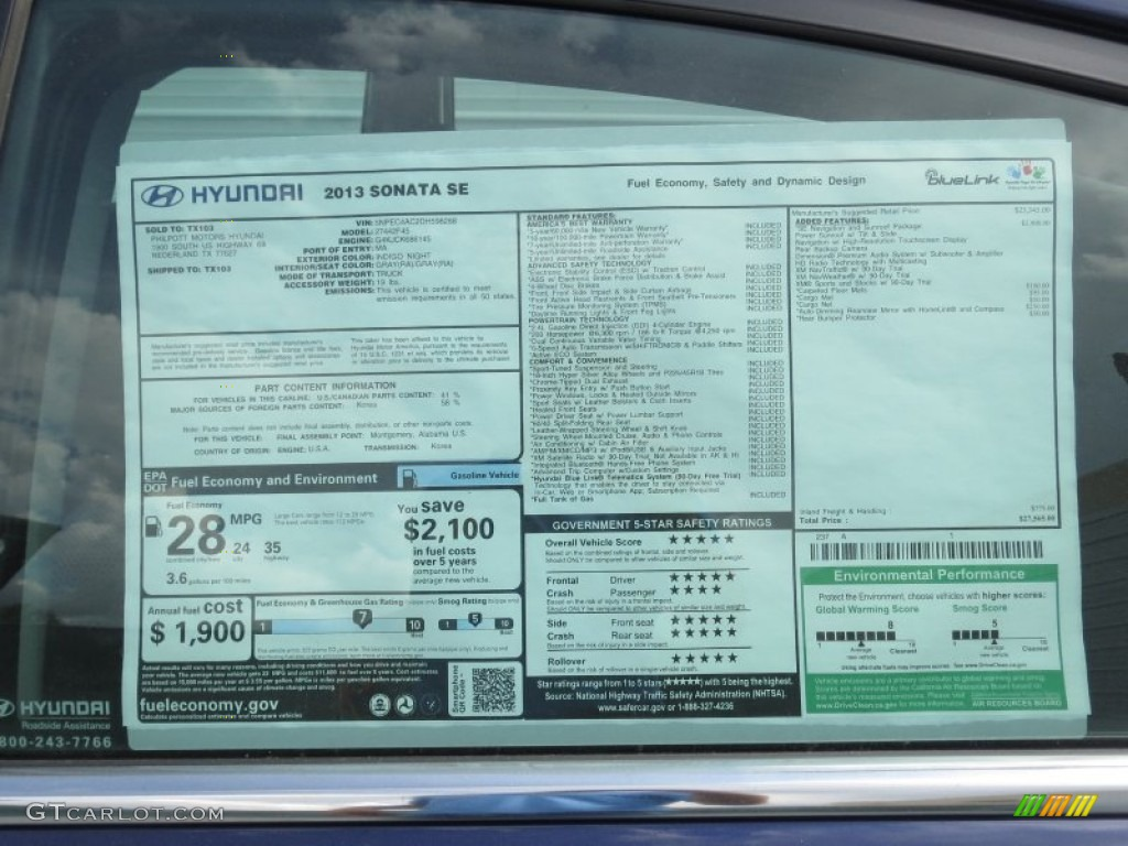 2013 Hyundai Sonata Se Window Sticker Photo 71465777