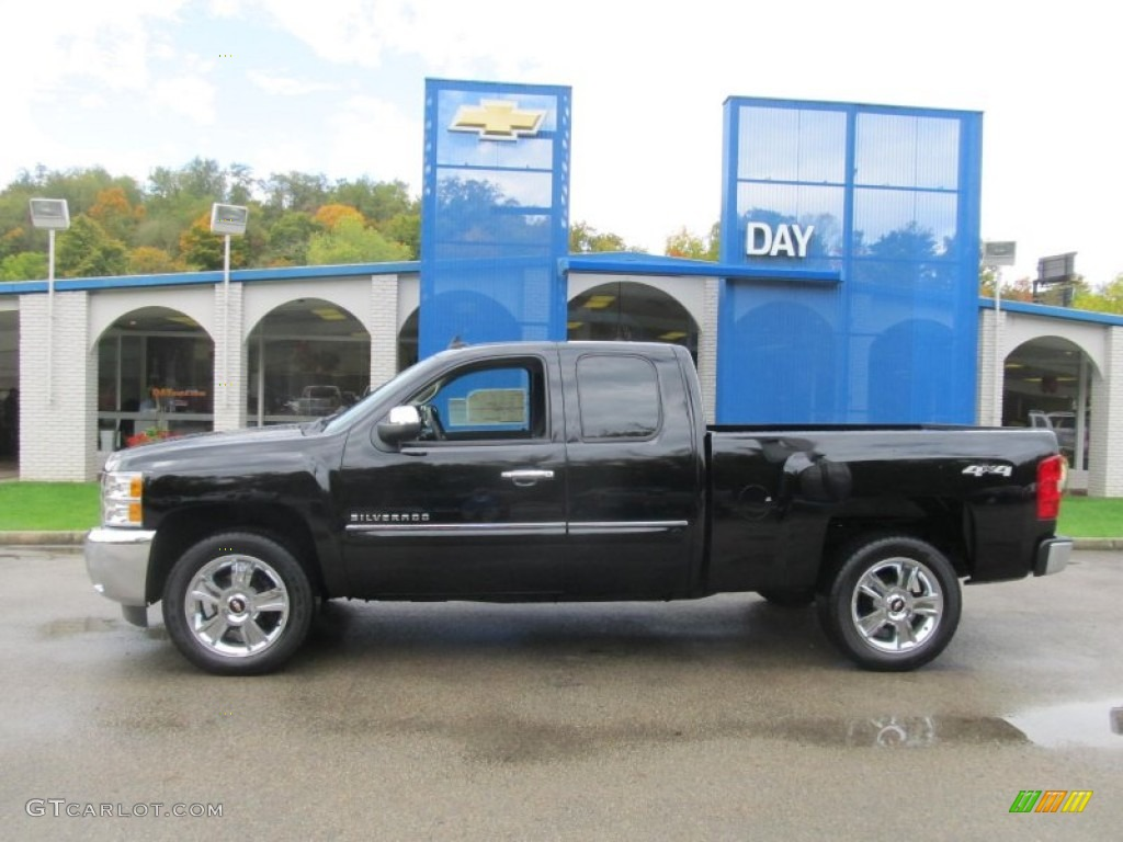 2012 Silverado 1500 LT Extended Cab 4x4 - Black Granite Metallic / Ebony photo #2