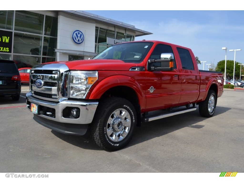 2012 F250 Super Duty Lariat Crew Cab 4x4 - Vermillion Red / Adobe photo #1