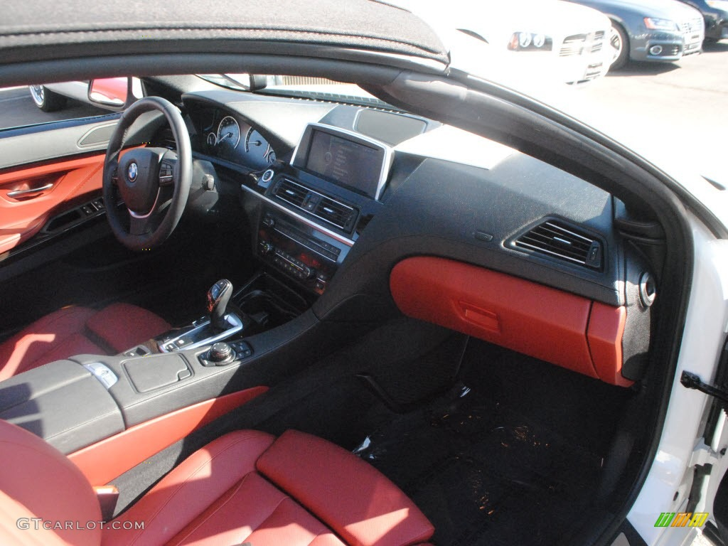 Vermillion Red Nappa Leather Interior 2012 Bmw 6 Series 650i Convertible Photo 71649205