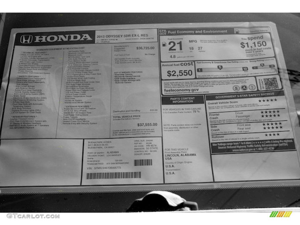 2013 Honda Odyssey Ex L Window Sticker Photo 71663401