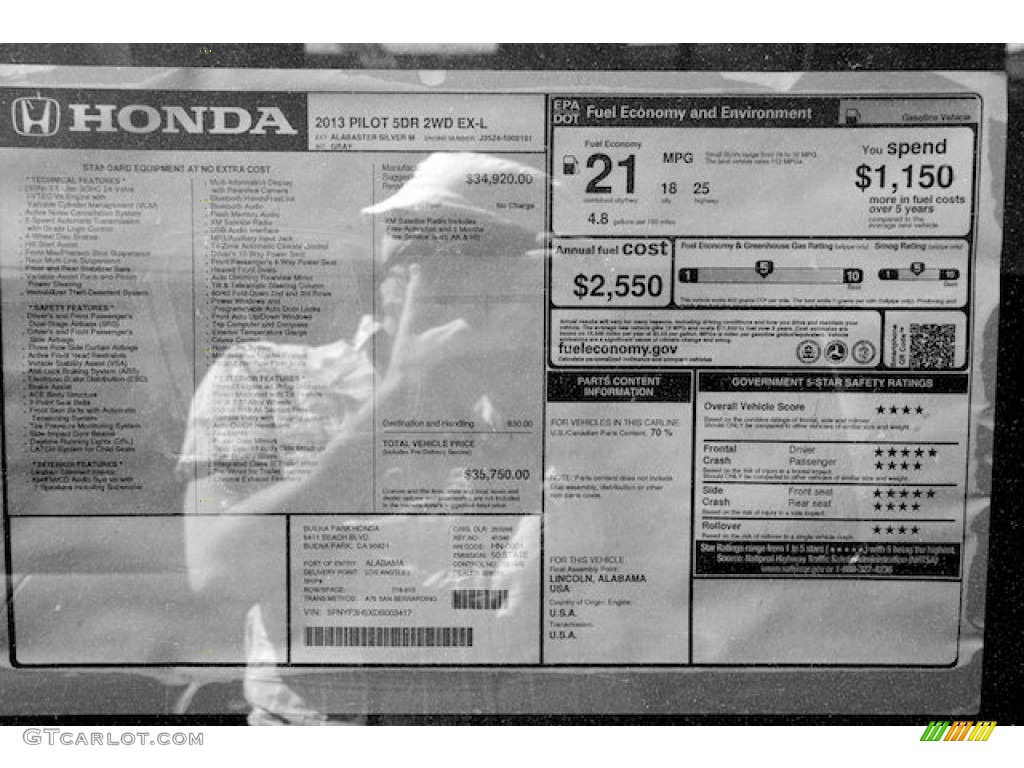 2013 Honda Pilot Ex L Window Sticker Photo 71663596 Gtcarlot Com