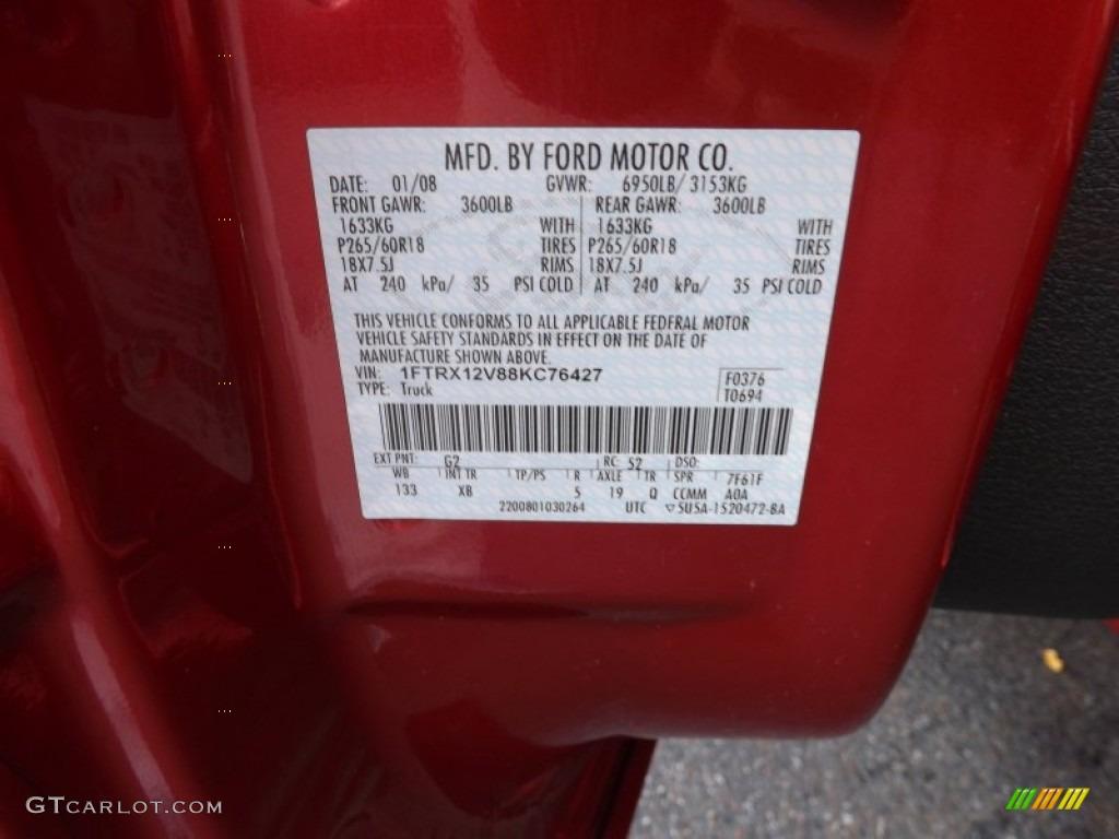 2017 Ford F 150 Lariat >> 2008 Ford F150 FX2 Sport SuperCrew Color Code Photos | GTCarLot.com