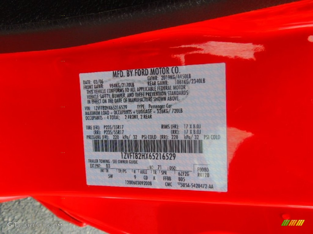 2006 Mustang Color Code D3 For Torch Red Photo 71812245