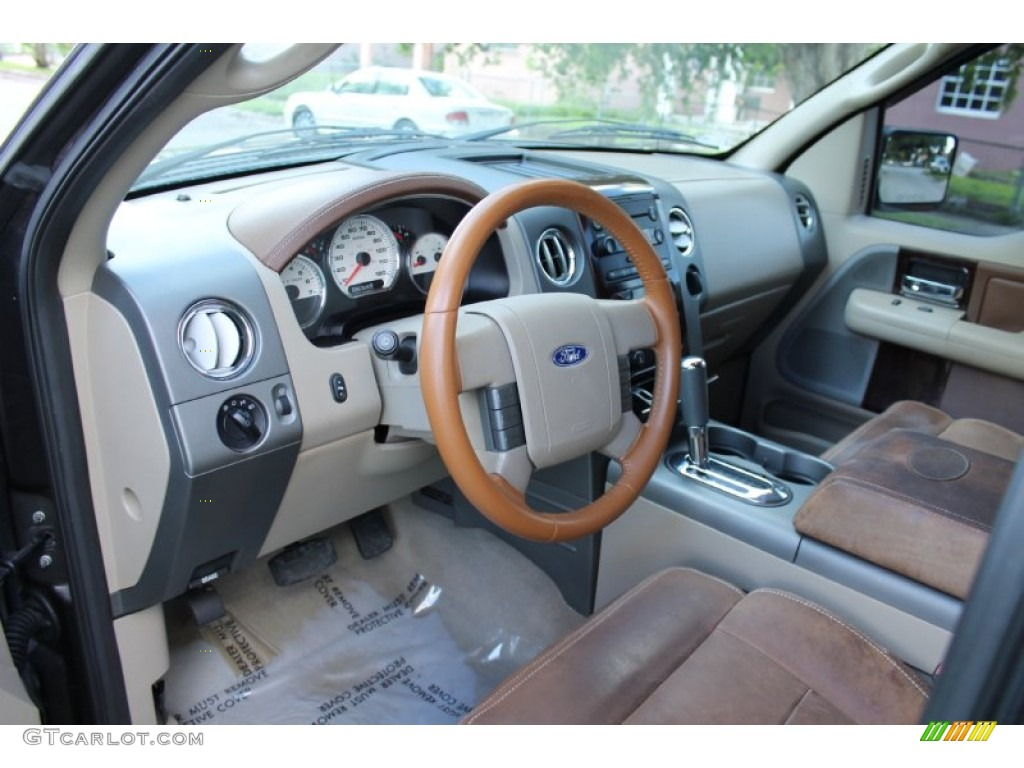 Castano Brown Leather Interior 2005 Ford F150 King Ranch Supercrew 4x4 Photo 71866272