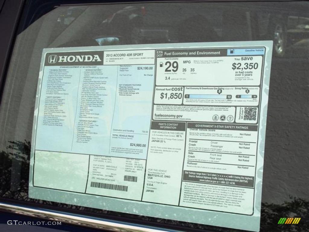 2010 Honda Accord Ex L V6 >> 2013 Honda Accord Sport Sedan Window Sticker Photo #71889414 | GTCarLot.com