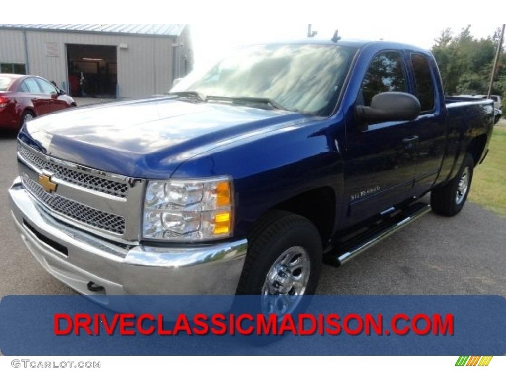 2013 Silverado 1500 LS Extended Cab 4x4 - Blue Topaz Metallic / Ebony photo #1