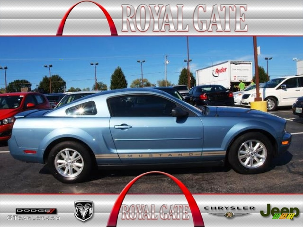 2007 Mustang V6 Premium Coupe - Windveil Blue Metallic / Medium Parchment photo #1