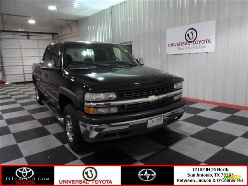 2002 Silverado 1500 LS Crew Cab - Onyx Black / Graphite Gray photo #1