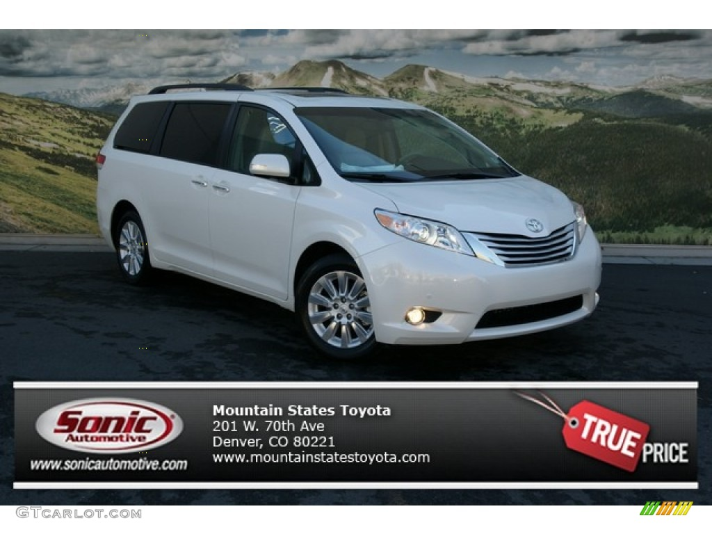 2013 Toyota Sienna Limited AWD - Blizzard White Pearl Color / Light ...