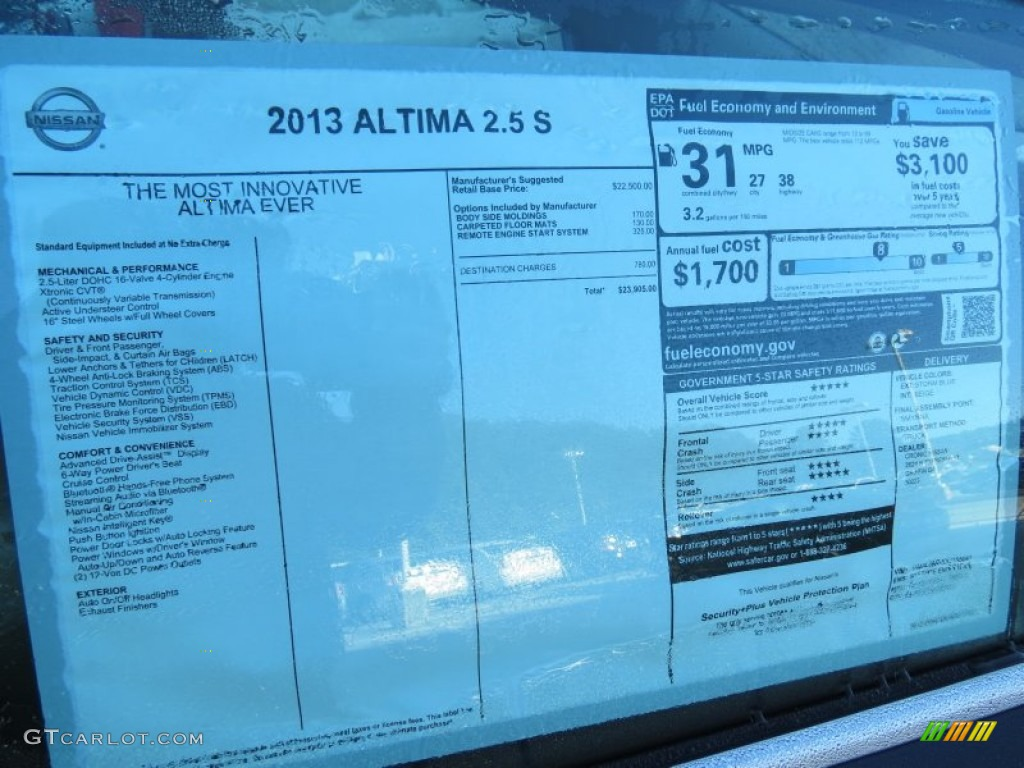 2013 nissan altima 2 5 s window sticker photo 72340874. Black Bedroom Furniture Sets. Home Design Ideas