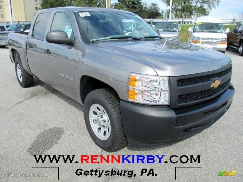 2012 Silverado 1500 Work Truck Crew Cab 4x4 - Graystone Metallic / Dark Titanium photo #1