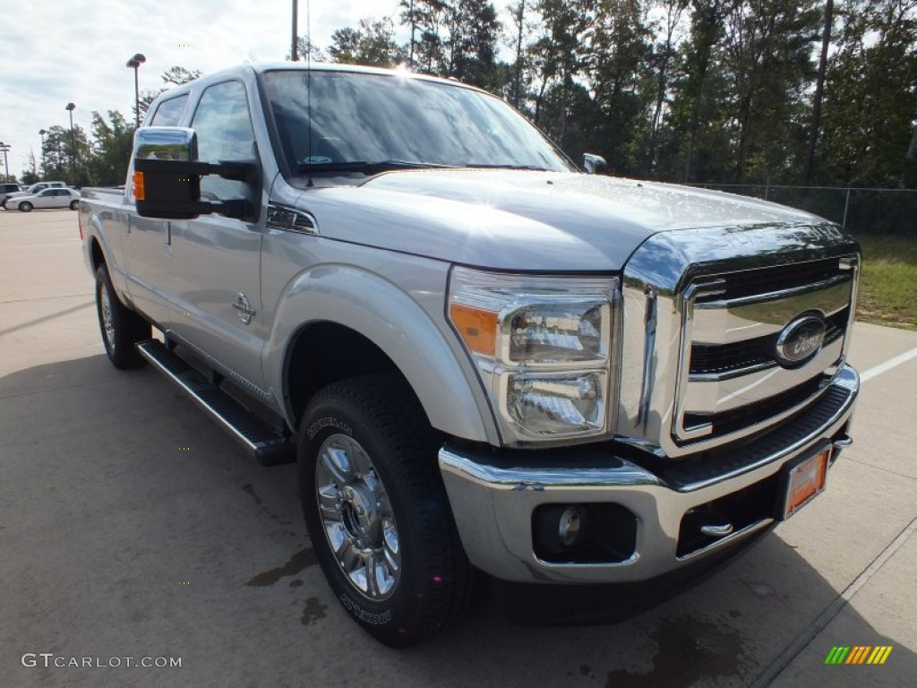2012 F250 Super Duty Lariat Crew Cab 4x4 - Ingot Silver Metallic / Black photo #1
