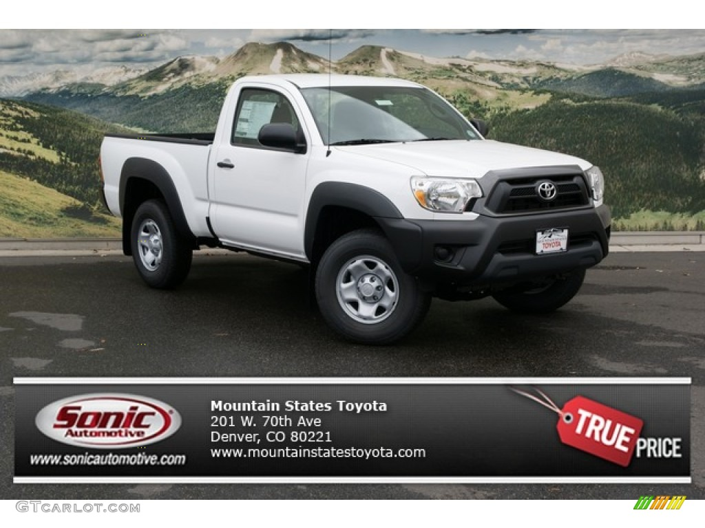 2013 super white toyota tacoma regular cab 4x4 72705638 car color galleries. Black Bedroom Furniture Sets. Home Design Ideas