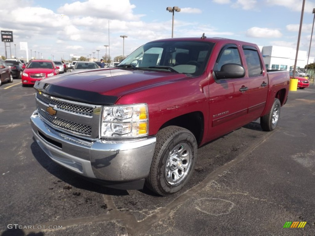 2013 Silverado 1500 LS Crew Cab - Deep Ruby Metallic / Ebony photo #1