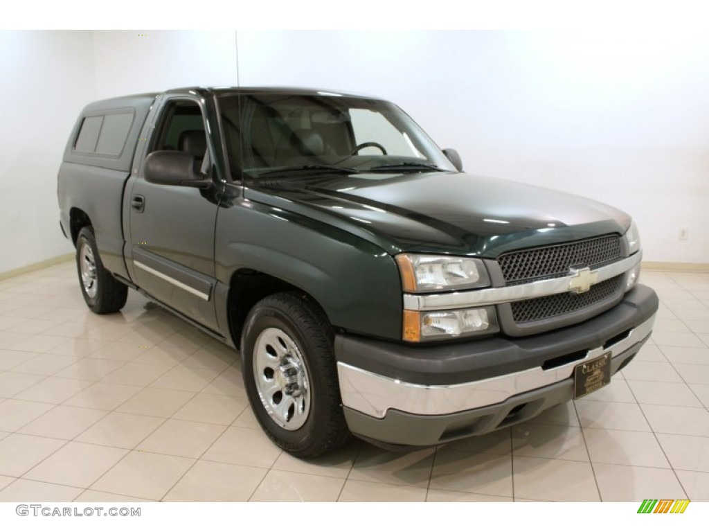 2005 Silverado 1500 Regular Cab - Dark Green Metallic / Dark Charcoal photo #1