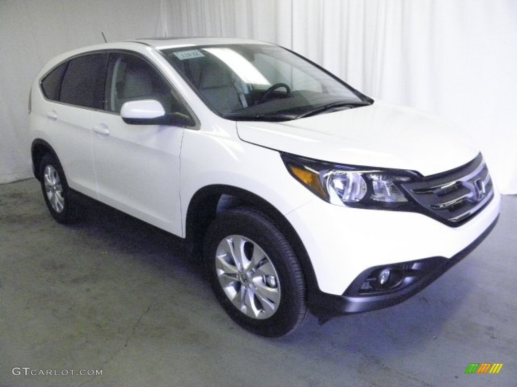 2013 CR-V EX AWD - White Diamond Pearl / Beige photo #1