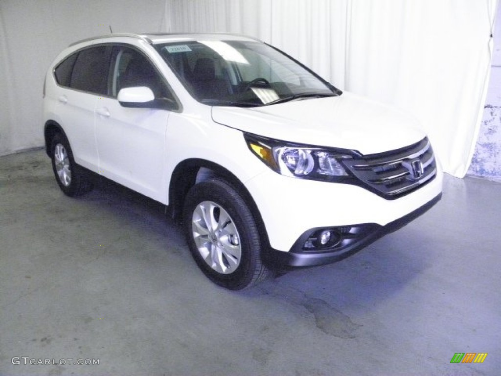 2013 CR-V EX-L AWD - White Diamond Pearl / Black photo #1
