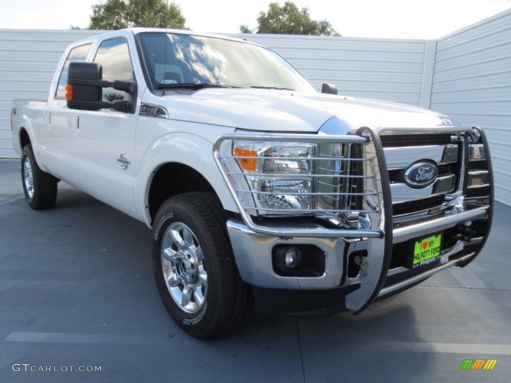 2012 F250 Super Duty Lariat Crew Cab 4x4 - White Platinum Metallic Tri-Coat / Black photo #1