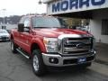 2012 Vermillion Red Ford F250 Super Duty XLT SuperCab 4x4  photo #2