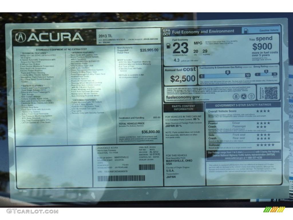 2013 Acura Tl Standard Tl Model Window Sticker Photos