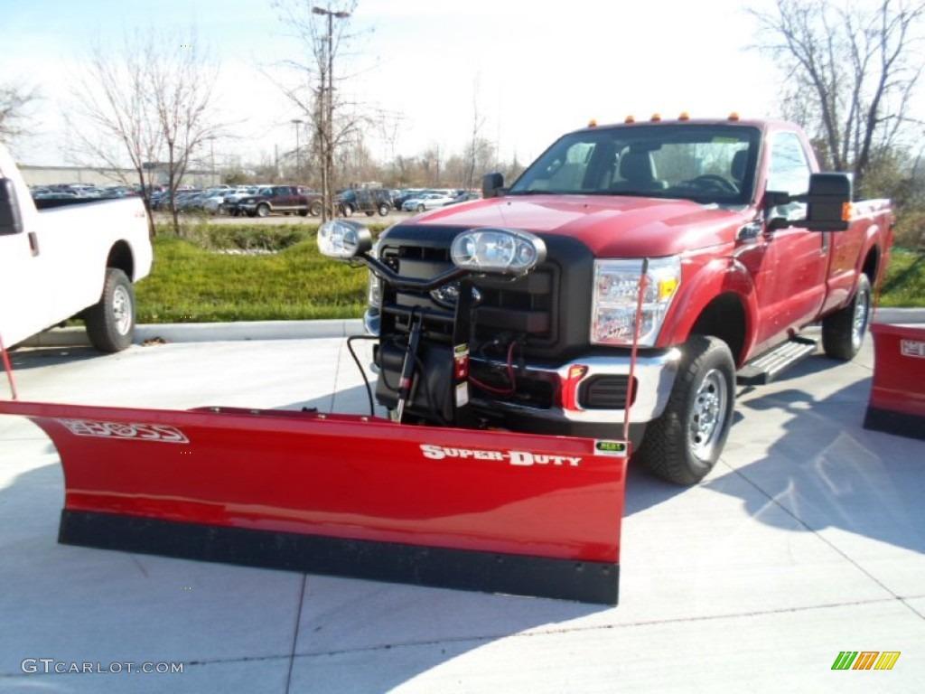 2012 F250 Super Duty XL Regular Cab 4x4 Plow Truck - Vermillion Red / Steel photo #1