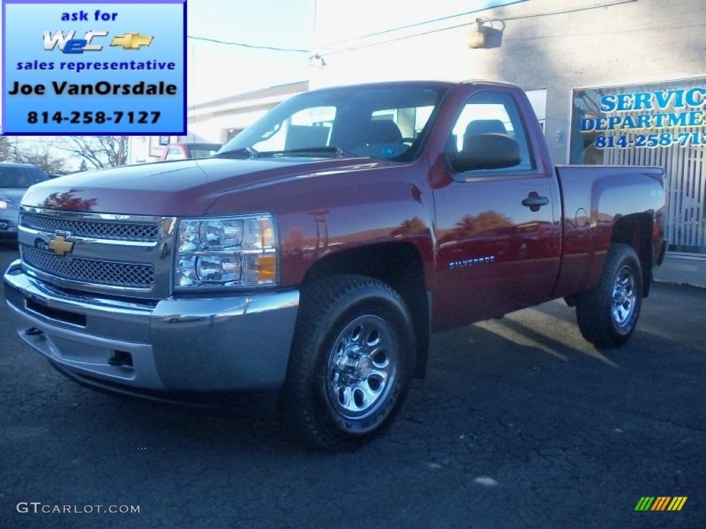 2013 Silverado 1500 Work Truck Regular Cab 4x4 - Deep Ruby Metallic / Dark Titanium photo #1
