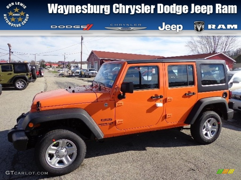 2013 Crush Orange Jeep Wrangler Unlimited Sport 4x4 73408462 Car Color Galleries