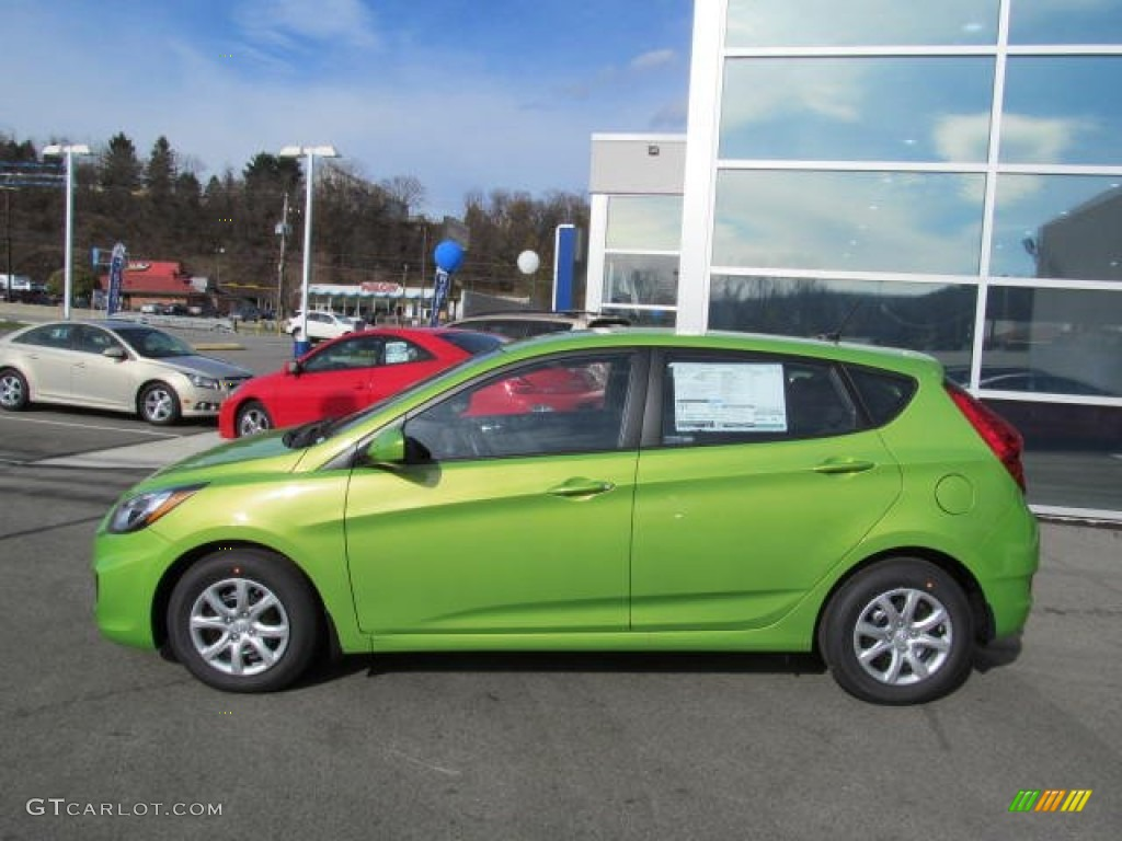 Electrolyte Green 2013 Hyundai Accent GS 5 Door Exterior
