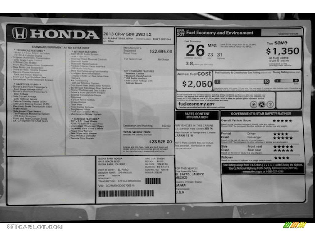 2013 honda crv lx window sticker photo 73562306